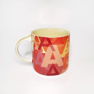 ANTHROPOLOGIE Lottie Monogram Mug Cup Red A